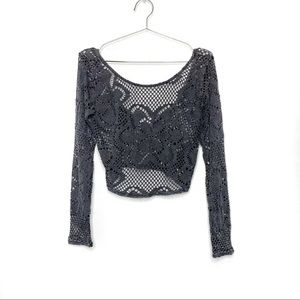UA Out from Under Long Sleeve Mesh Lace Crop Top